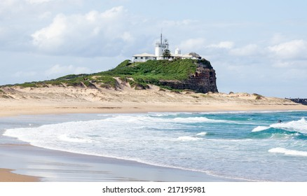 Nobbies Lighthouse at the entrance to Newcastle port in Australia