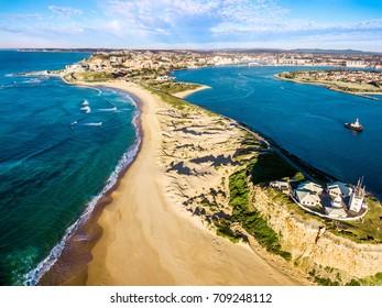 Nobby,s Beach and Lighthouse, Newcastle, Australia aerial shot