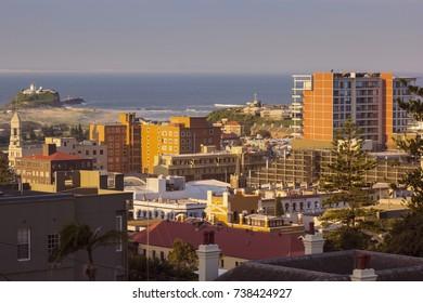 Nobbys Head Lightouse and Newcastle panorama. Newcastle, NSW, Australia