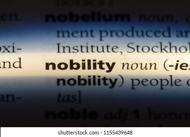 nobility word in a dictionary. nobility concept.