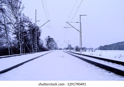 Nobitz / Germany: Electrified railway line between Altenburg and Zwickau in January