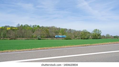 Nobitz-Zehma / Germany / April, 26th 2019: Siemens Eurorunner diesel-electric locomotive in ALEX livery on the railway line Leipzig-Hof at Nobitz-Zehma in Eastern Thuringia