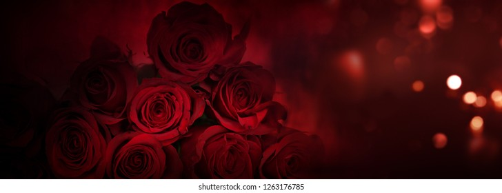 Noble red roses with bright bokeh for a valentine's day background