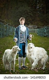 Nobleman out walking his dogs.