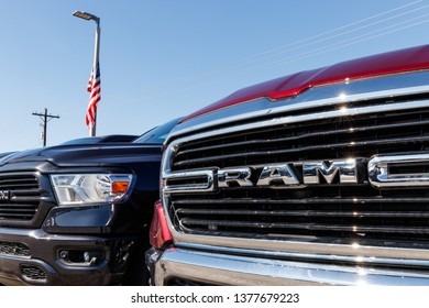 Noblesville - Circa April 2019: Ram 1500 on display at a Chrysler Ram dealership. The subsidiaries of FCA are Chrysler, Dodge, Jeep, and Ram I