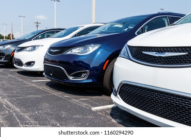 Noblesville - Circa August 2018: Chrysler vehicles on display at a dealership. The subsidiaries of FCA are Chrysler, Dodge, Jeep, Ram, Mopar and SRT I