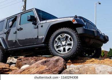 Noblesville - Circa August 2018: Jeep Wrangler on display at a Chrysler Jeep dealership. The subsidiaries of FCA are Chrysler, Dodge, Jeep, Ram, Mopar and SRT XI