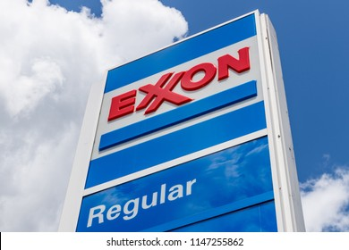 Noblesville - Circa July 2018: Exxon Retail Gas Location. ExxonMobil is the World's Largest Oil and Gas Company III