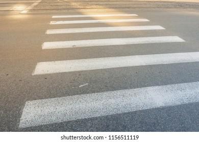 Nobody on Crosswalk in Black and white Crosswalk Darck Tone. Zebra cross walk on asphalt road.