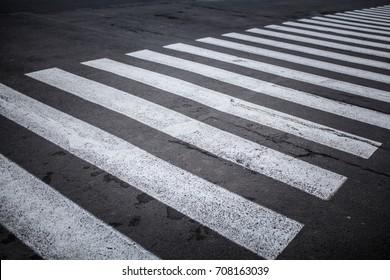Nobody on Crosswalk in Black and white Crosswalk Darck Tone