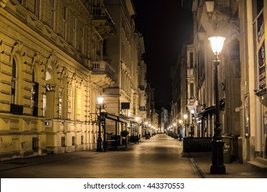 Nobody on the night Vaci street in Budapest