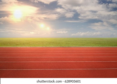 nobody running track for athletic competition, empty motion blur race background for training