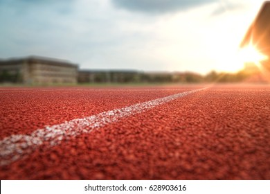 nobody running track for athletic competition, shallow depth of field race background for training