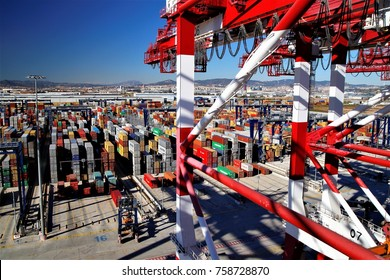 nobody but Semi-auto container terminal yard operation viewed from a gantry crane in BEST terminal, Port of Barcelona, Spain, June 3, 2015.