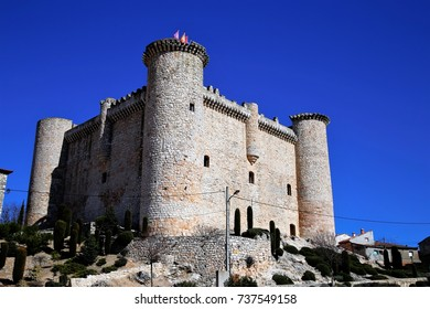 nobody but a typical medieval castle(fortress) outside Madrid urban area, Madrid, central Spain, April 17, 2014