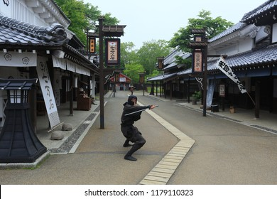 Noboribetsu, Japan June 19,2018:Show samurai in Date Jidaimura village. Culture Performance at Noboribetsu Date Jidaimura old architecture Edo Historic Village Hokkaido, Japan.