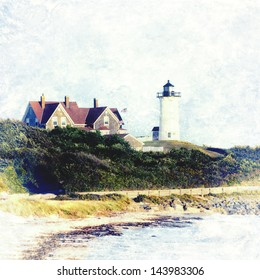 Nobska Lighthouse in Woods Hole, Falmouth, Cape Cod, Massachusetts USA. This Cape Cod landmark is made of cast iron over bricks. Fun retro vintage faded style.  Original photograph also available.