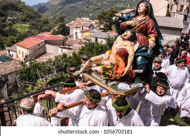 NOCERA TERINESE, ITALY - APRIL 7, 2007 - The Procession of Madonna Addolorata and dead Christ in the Easter Holy Saturday in Nocera Terinese, Calabria, southern Italy