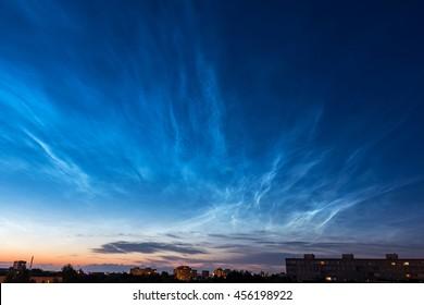 Noctilucent clouds over Tallinn. Estonia, Europe