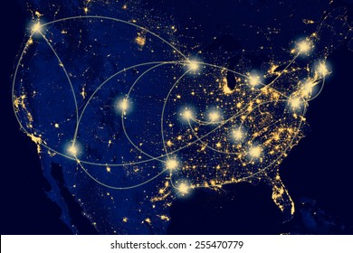 Nocturnal aerial view of the U.S.A. , Highways and airlines lighted.N.A.S.A. Public Image Edited.