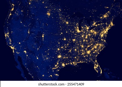 Nocturnal aerial view of the U.S.A. , Highways lighted.