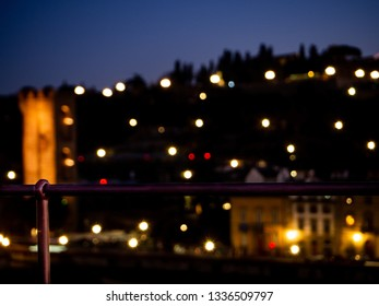 Nocturnal images of the Arno river in Florence next to ponte vechio