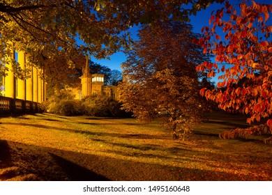 Nocturnal park in autumn in Potsdam