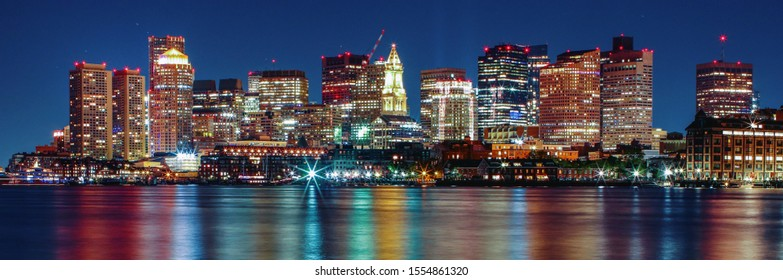Nocturne photo of the city of Boston