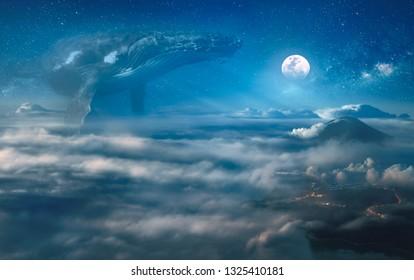 Surrealer Traum von Nocturne mit Wolken, großer Walfang im Raum, Nachtlandschaft unter Vollmond auf Hintergrund