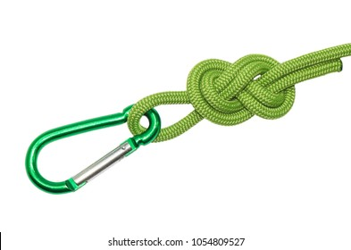 node eight of green rope, carabiner. Isolated on white background.
