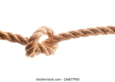 Node on the rope isolated on white