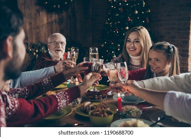 Noel evening family gathering, meeting, congrats. Cheerful grey-haired grandparents, grandchildren, daughter, son, relatives sitting at table, house party, navidad, eating dinner homemade food fun