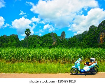 Noen Maprang District, Phitsanulok Province/Thailand- September 20 2015 : Travel by Suzuki Jelato at ิBan Mung Village ,The famous tourist attraction to see Limestone Mountians