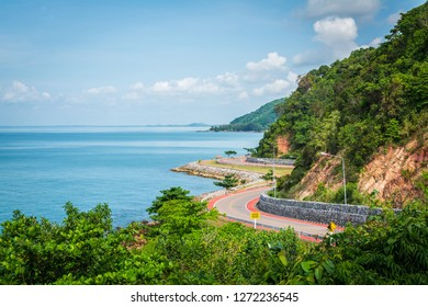 Noen Nangphaya Viewpoint, the famous viewpoint, and landmark of Chanthaburi, Thailand. This viewpoint to see the winding asphalt road with bicycle red road along the coast and mountain with blue sky