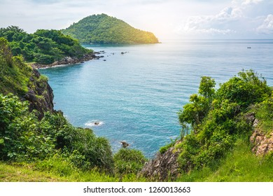 Noen Nangphaya Viewpoint, the famous viewpoint and new landmark of Chanthaburi, Thailand. This viewpoint to see the mountains, rocky cliff, islands and sea scenery with blue sky, sunlight