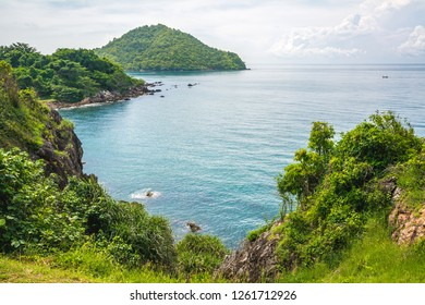 Noen Nangphaya Viewpoint, the famous viewpoint and new landmark of Chanthaburi, Thailand. This viewpoint to see the mountains, rocky cliff, islands and sea scenery with blue sky