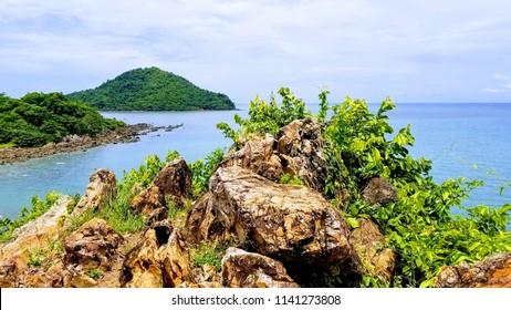 Noen Nangphaya Viewpoint with rock and island at Chanthaburi province, Thailand