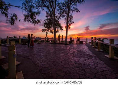 Noen Nangphaya Viewpoint-Chanthaburi: June 22, 2019, the atmosphere of the secret sky in the evening, visitors come to see the beauty of the natural viewpoint near Kep Tawan Beach, Thailand