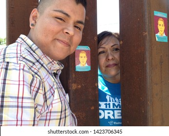 Nogales, Ariz. / US - June 11, 2013: A bittersweet reunion between Dreamer Carlos Padilla and his mother, deported earlier, at the US-Mexico border fence.