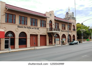 Nogales, Arizona, USA – May 1, 2018:  Historic building in Nogales, Arizona, USA that houses the Pimeria Alta History Museum and an historic fire station and city hall.