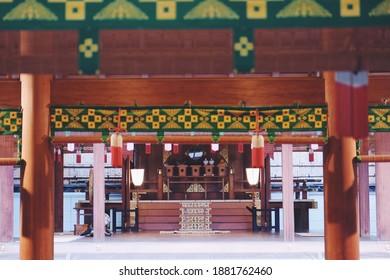 Nogi Shrine in Minato Ward, Tokyo on a rainy day - Shutterstock ID 1881762460