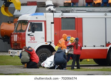 NOGINSK, RUSSIA - JUNE 6, 2017:Assistance to victims in a fire at the Noginsk rescue center of the Ministry of Emergency Situations.