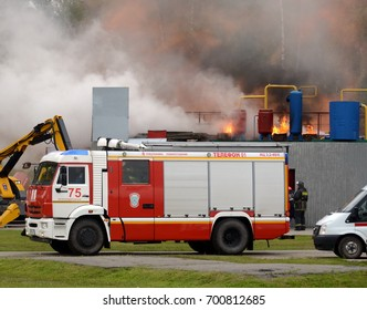 "NOGINSK, RUSSIA - JUNE 6, 2017:Fire extinguishing at the training ground of the Noginsk rescue center of the Ministry of Emergency Situations during the International Salon ""Integrated Security-2017"""