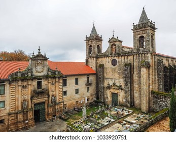 Nogueira de Ramuin, Spain - December 28, 2017: Monastery of Santo Estevo of Ribas del Sil and Canyons of the Sil River