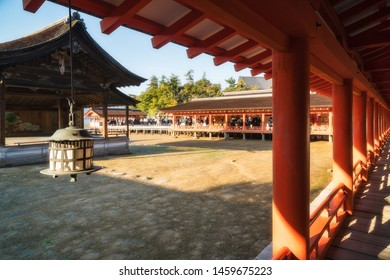 Noh Drama at Itsukushima Shrine on Miyajima Island in Japan, that uniquely rests upon the sea. Shin noh (sacred Noh) is performed on this stage during Tokasai (Peach Blossom Festival).