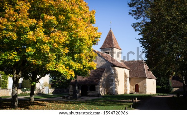 Nohant-Vic village and the chapel in Berry, France