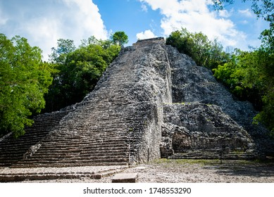 Nohoch mul, ancient mayan pyramid in Coba. Coba Archeological Area, Yucatan, Mexico