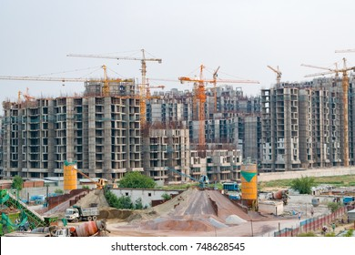 NOIDA, INDIA- JULY 2017: High rise building under construction in NOIDA, Uttarpradesh, India.
