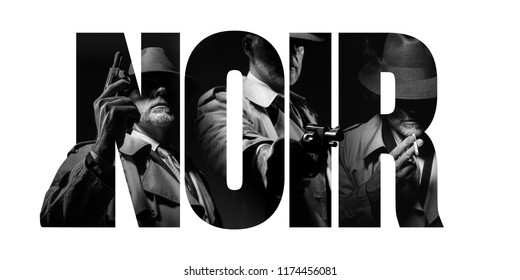 Noir film concept and vintage detective character: agent with gun and cut out text