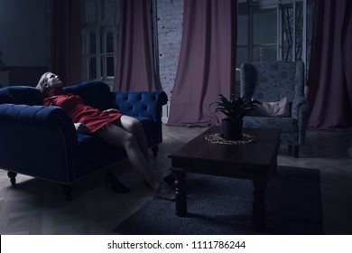 Noir film. Sexual woman being strangled in a vintage interior